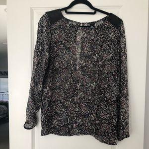 Club Monaco Print blouse with leather trim
